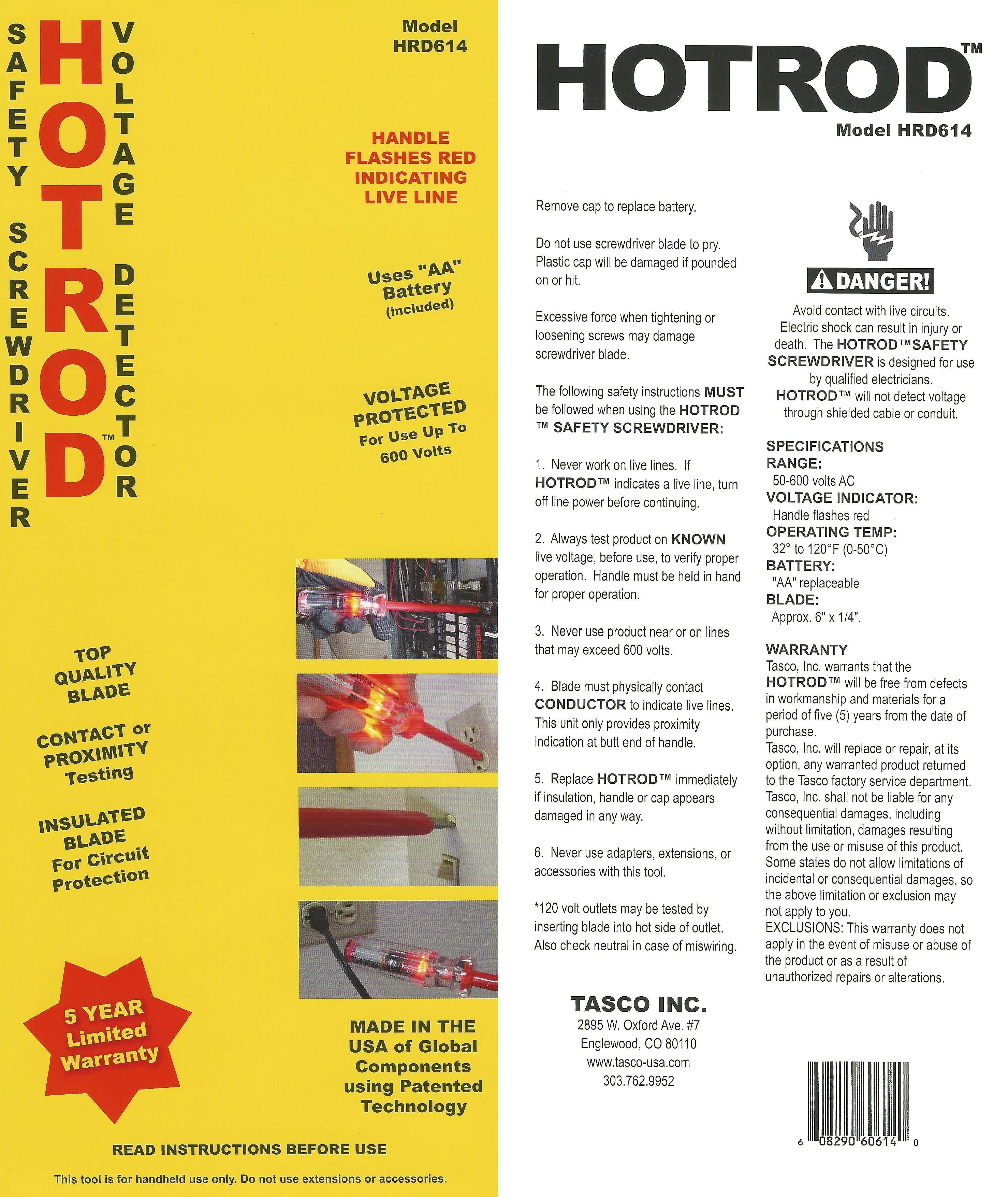 Hotrod Safety Screwdriver Tasco Inc Live Line Detector Circuit Download Product Brief